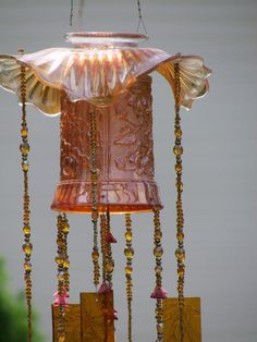 Wind Chime Antique Carnival Glass Dishes and by VintagePolkaDotcom, $109.99