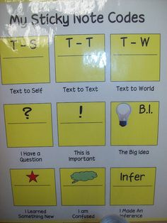 Students use codes for reading sticky notes