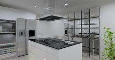 Cocina modelo Line Laminado Seda Blanco y encimera de granito negro. La cocina vitrocerámica ocupa una posición central.