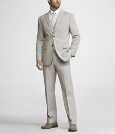 This is IT. The fiancee's suit for the special day. Corded Grey Stripe Suit.