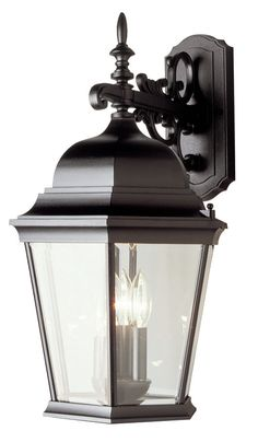 Features:  -Three light wall lantern.  -Beveled glass.  -UL listed for wet location.  -Cast aluminum construction.  -Outdoor collection.  Product Type: -Wall lantern.  Fixture Material: -Metal.  Shade