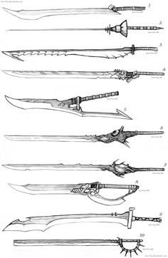 Sword Designs 4 by Iron-Fox on DeviantArt - Katana Fantasy Sword, Fantasy Weapons, Fantasy Art, Drawing Reference Poses, Drawing Tips, Sword Reference, Armes Concept, Espada Anime, Cool Swords