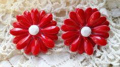 CHIC Flower Power Red Clip Earrings w/ White by ceiltiques on Etsy
