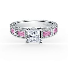 Kirk Kara Pink Sapphire and Diamond Engagement Ring - http://www.barmakian.com/