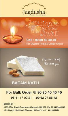 Enjoy the True taste of Badam Katli with Jagdusha Sweets & Savories. . .It's time to taste. . .