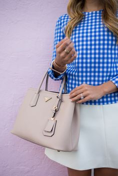 DVF Blue Gingham Top and Skirt