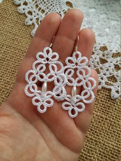 "tatting jewelry ""Victoria"" lace earrings, mystery Jewellery Earrings gift for her lace jewelry bridesmaid earrings Lightweight earrings - Tatting Ideen 2019 Tatting Earrings, Tatting Jewelry, Lace Earrings, Lace Jewelry, Fabric Jewelry, Crochet Earrings, Jewellery Earrings, Chandelier Earrings, Jewellery Box"