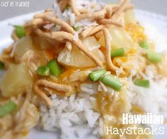 Crock-pot Hawaiian Haystacks - had these at a friends house a long time ago and it is so good!  I don't think peanuts are on her list of toppings and you have to have peanuts too!  Yum!