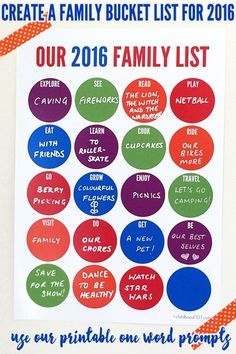 Use the word prompts on this handy printable Bucket List to decide as a family how you'll have fun together in the coming year.
