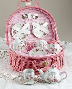 Pink Rose Tea Set - In lovely Carry Basket- 3 Left In stock!
