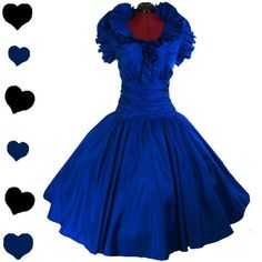 PinupDresses.com #Vintage #Dress Vintage 80s Blue RUFFLED Prom Party FULL SKIRT Dress M L Xmas Holiday Cocktail