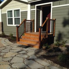 Front porch with flagstone walkway