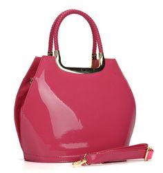 Chic Fushia Patent Tote Shoulder Grab Hand Bag Simulated Leather New SS17 #Unbranded #ShoulderBags