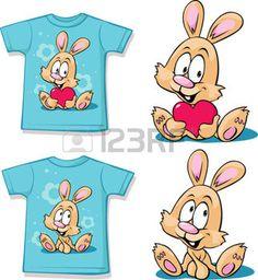 blaues Hemd mit niedlichen H�schen - Vektor-Illustration photo