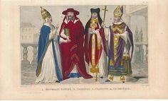 Vatican Religious Costumes 1840 Original Antique Engraved Color Terzuolo Print   Catholic Art, Christian Art  $35.95