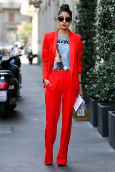 red suit and casual tee | street style inspiration