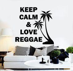 Vinyl Wall Decal Reggae Music Rastafari Quote Palm Stickers (ig3780)