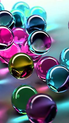 Marbles //Green, Pink & Blue