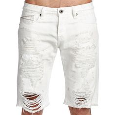 Cult Of Individuality Rebel Jean Shorts ($90) ❤ liked on Polyvore featuring men's fashion, men's clothing, men's shorts, mens white shorts, mens white denim shorts, mens jean shorts, mens distressed denim shorts and mens shorts