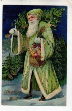 """The original Father Christmas from England and illustrated in Charles Dicken's 1834 classic had a green robe. This early French """"Pere Noel"""" has a fancy one with gold trim. Vintage Christmas Images, Old Christmas, Old Fashioned Christmas, Victorian Christmas, Father Christmas, Vintage Holiday, Christmas Colors, Christmas Trees, Christmas Mantles"""