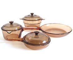 New to LaurasLastDitch on Etsy: Corning Vision Cookware Skillet Saucepan Double Boiler Insert Corningware Amber Visions 7 1 liter v-20-b (26.99 USD)