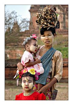 Burma: a woman with her children