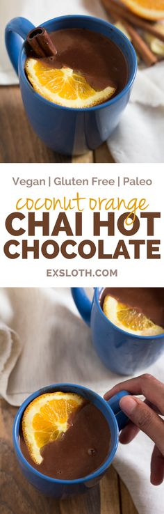 This Coconut Orange Vegan Chai Hot Chocolate is creamy, decadent and perfectly spiced. It'll definitely keep you warm on those cold Fall or Winter mornings | ExSloth.com