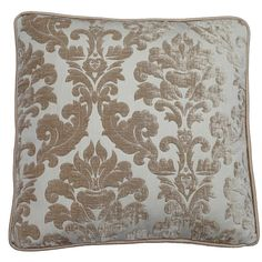 Lucilla 20x20 Large cream damask velvet by CotswoldCushions