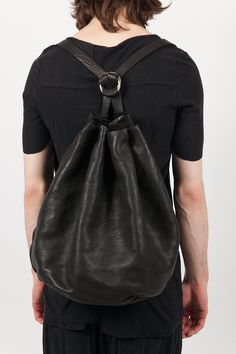 stag leather harmonica backpack - GUIDI - Layers London