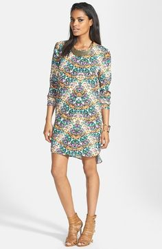 Wayf Long Sleeve Crepe Shift Dress available at #Nordstrom