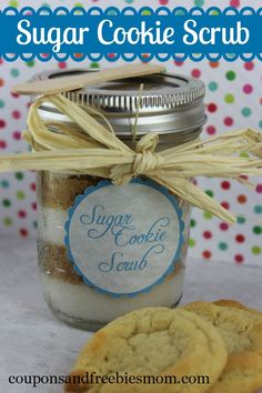 Sugar Cookie Scrub - Coupons and Freebies Mom Sugar Scrub Recipe, Sugar Scrub Diy, Diy Scrub, Sugar Scrubs, Homemade Scrub, Homemade Gifts, Inexpensive Bridal Shower Gifts, Inexpensive Gift, Homemade Sugar Cookies