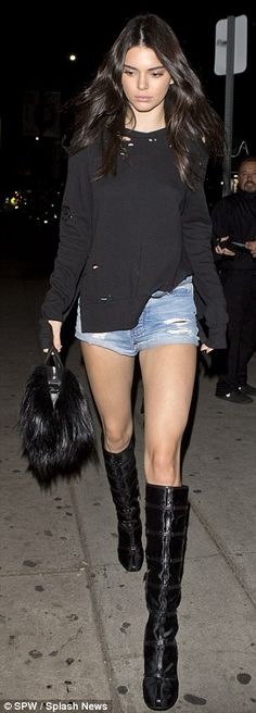 Pin parade: Kendall Jenner and Hailey Baldwin showed off their legs as they hit hotspot Th...