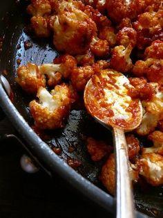 Roasted Cauliflower with Chopped Tomato, Chili Powder, Red Wine Vinegar, Balsamic Vinegar, and Garlic