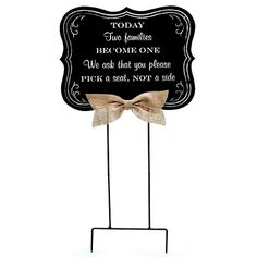 Our Chalkboard Wood Sign for Wedding Ceremony lets your guests know that you want them to sit wherever they want to at the wedding ceremony. The high quality sign is made of 1/4