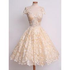 Elegant V-Neck Cap Sleeve Crochet Flower Lace Women's Dress