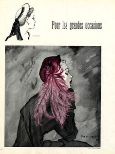 Janette Colombier (Millinery), 1948 illustrated by Pierre Mourgue
