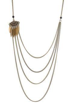 Sautoir bronze 4 étages perles onyx  & éventail de Comptoir des Muses sur DaWanda.com
