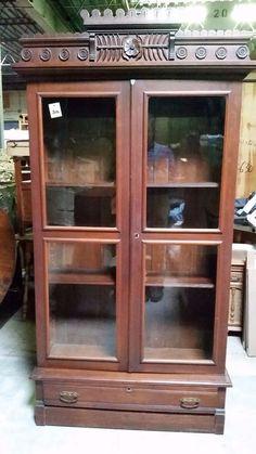 Eastlake Victorian Walnut Bookcase Display Cabinet  #Eastlake