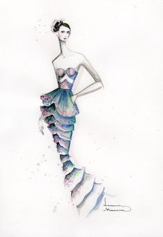 Watercolour fashion illustration - mermaid dress, fashion drawing // Leanne Marshall