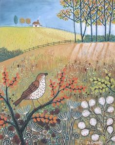 Autumn Gatherer  Born and brought up on a farm in West Berkshire, Jo's love of nature  and the English Landscape is very evident in her charming, whimsical paintings.