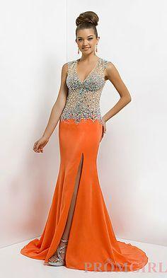 26490805a6d Full Length V-Neck Formal Gown at PromGirl.com Orange Evening Dresses