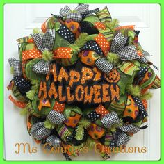 Halloween Deco Mesh Wreath by CreationsbyMsConnie on Etsy, $63.00