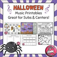 Halloween Music Worksheets for music sub plans & centers #sillyomusic