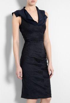 Navy Giambo Pinstripe Silk Collar Dress by Sportmax