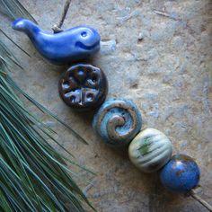 Indigo Seas Whale Bead Set  Artisan Ceramic Beads by ktotten #starryroadstudio