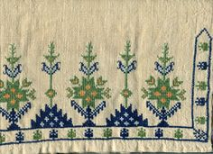 Embroidery motif on a vintage towel done by my mother probably in the late… Swedish Embroidery, Embroidery Motifs, Embroidery Patterns Free, Diy Embroidery, Cross Stitch Embroidery, Cross Stitch Floss, Cross Stitch Borders, Vintage Cross Stitches, Loom Beading