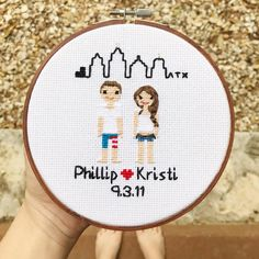 """116 Likes, 8 Comments - Cross Stitch Portraits (@familystitch) on Instagram: """"9.3.11 The day I met my hubs. We randomly met wakeboarding on a mutual friends boat...and have been…"""""""