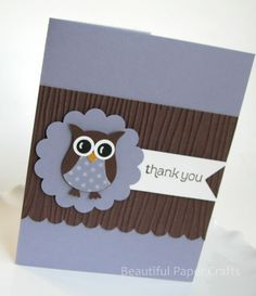 Owl Thank You Cards- Thank You Baby Shower Cards. $17.50, via Etsy.
