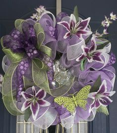 spring, deco, mesh, wreath, summer, lavender, lime green