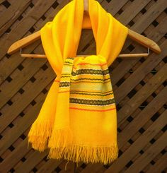 Vintage 60s Bold Yellow Ethnic Woven Scarf by DJVboutique on Etsy